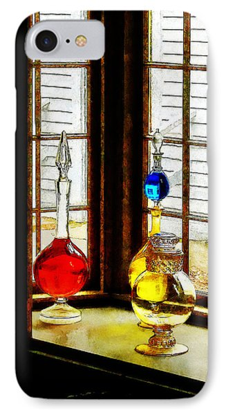 IPhone Case featuring the photograph Pharmacist - Colorful Bottles In Drug Store Window by Susan Savad