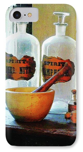 IPhone Case featuring the photograph Pharmacist - Mortar And Pestle With Bottles by Susan Savad