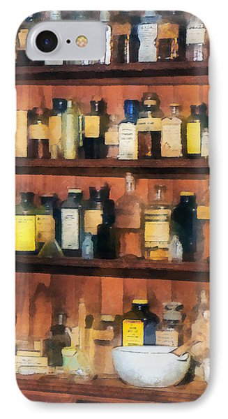 IPhone Case featuring the photograph Pharmacist - Mortar Pestles And Medicine Bottles by Susan Savad