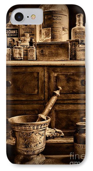 Pharmacist  Old Medicine In Black And White IPhone Case by Paul Ward