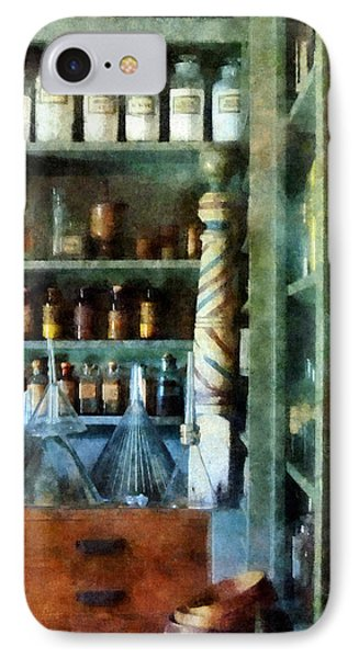 IPhone Case featuring the photograph Pharmacy - Back Room Of Drug Store by Susan Savad