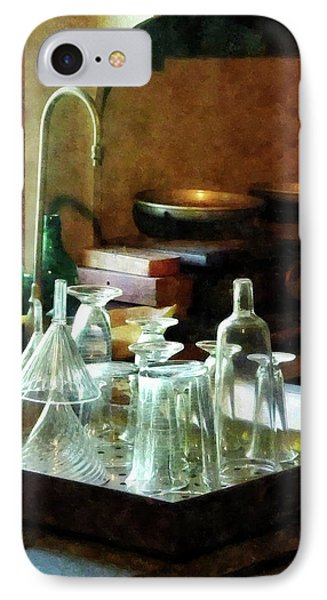 IPhone Case featuring the photograph Pharmacy - Glass Funnels And Bottles by Susan Savad