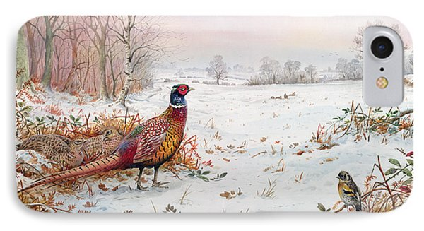 Pheasant And Bramblefinch In The Snow IPhone Case by Carl Donner