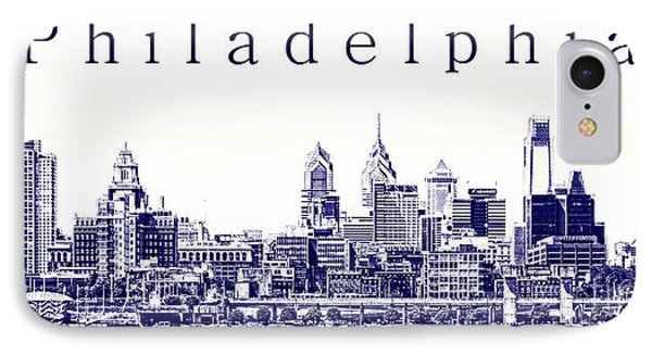 Philadelphia Blueprint  IPhone Case by Olivier Le Queinec