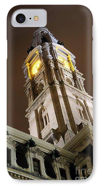 Philadelphia City Hall Clock Tower At Night Phone Case by Gary Whitton