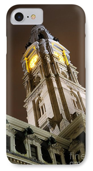 Philadelphia City Hall Clock Tower At Night IPhone Case