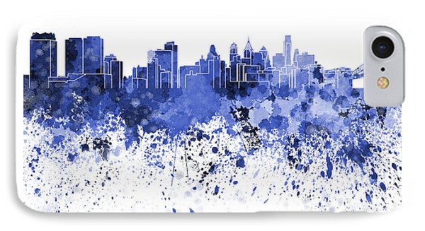 Philadelphia Skyline In Blue Watercolor On White Background IPhone Case by Pablo Romero