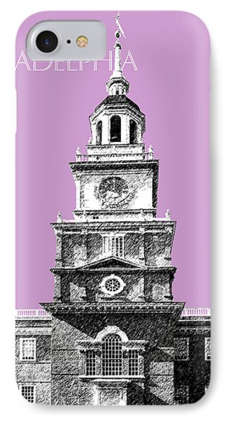 Philadelphia Skyline Independence Hall - Light Plum IPhone Case by DB Artist