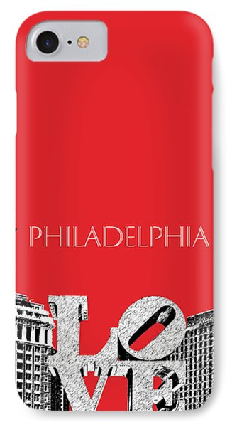 Philadelphia Skyline Love Park - Red IPhone 7 Case by DB Artist