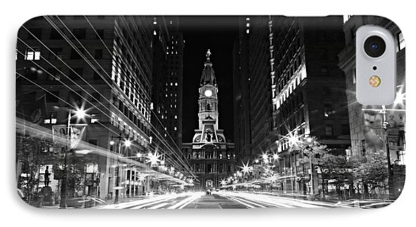 Philadephia City Hall -- Black And White IPhone Case by Stephen Stookey