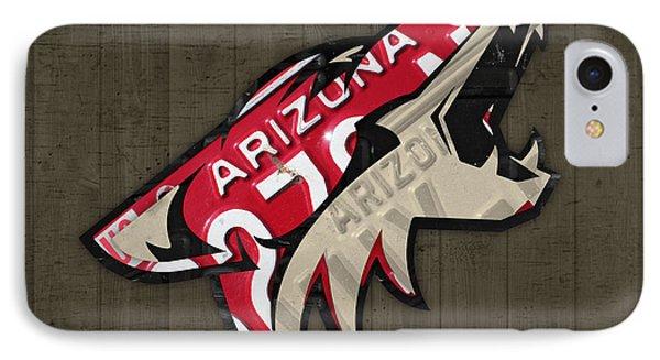 Phoenix Coyotes Retro Hockey Team Logo Recycled Arizona License Plate Art IPhone Case
