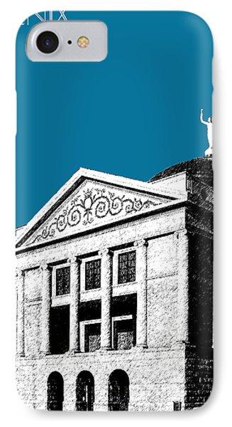 Phoenix Skyline Arizona Capital Building - Steel Blue IPhone Case by DB Artist