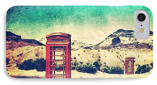 #phone #telephone #box #booth #desert IPhone Case by Jill Battaglia