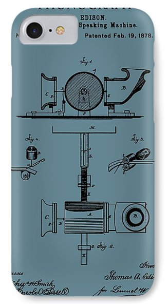 Phonograph Patent On Blue IPhone Case