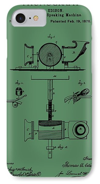Phonograph Patent On Green IPhone Case