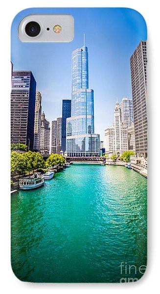 Photo Of Downtown Chicago With Trump Tower IPhone Case by Paul Velgos