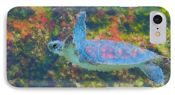 Photo Painting Of Sea Turtle Phone Case by Dan Friend