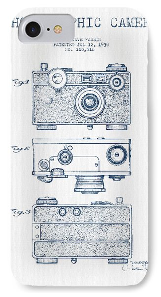 Photographic Camera Patent Drawing From 1938- Blue Ink IPhone Case by Aged Pixel