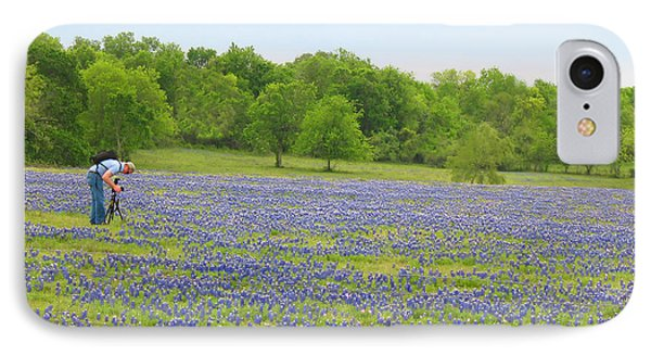 Photographing Texas Bluebonnets IPhone Case by Connie Fox