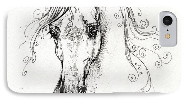 Piaff Polish Arabian Horse Drawing Phone Case by Angel  Tarantella
