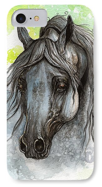 Piaff Polish Arabian Horse Watercolor  Painting 1 Phone Case by Angel  Tarantella