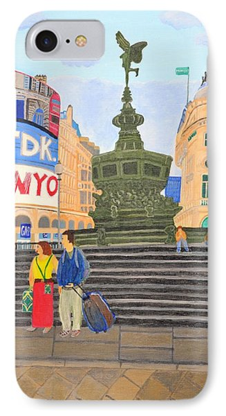 IPhone Case featuring the painting London- Piccadilly Circus by Magdalena Frohnsdorff