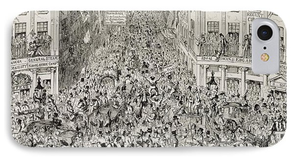 Piccadilly During The Great Exhibition Phone Case by George Cruikshank