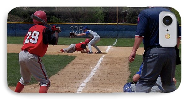 Pick Off Attempt At 1st Base Phone Case by Thomas Woolworth
