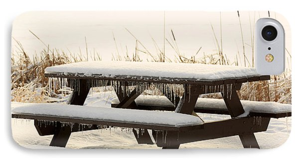 Picnic Table In Winter IPhone Case by Louise Heusinkveld