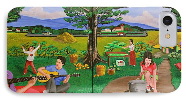Picnic With The Farmers And Playing Melodies Under The Shade Of Trees IPhone Case by Lorna Maza