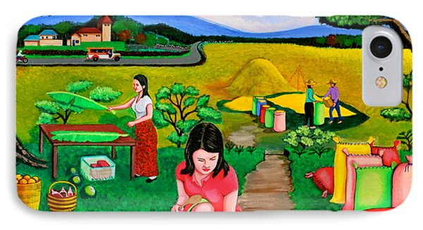 IPhone Case featuring the painting Picnic With The Farmers by Cyril Maza