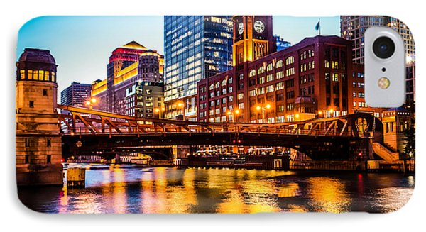 Picture Of Chicago At Night With Clark Street Bridge IPhone Case by Paul Velgos