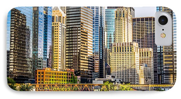 Picture Of Chicago Buildings At Lake Street Bridge IPhone Case by Paul Velgos