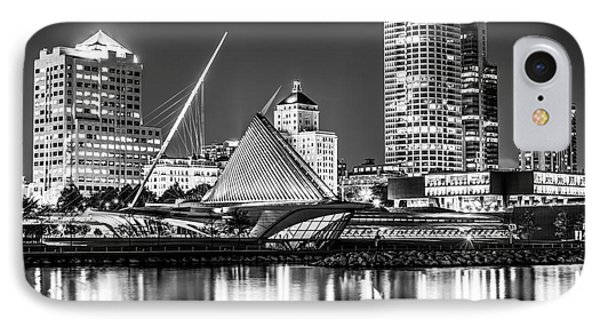 Picture Of Milwaukee Skyline At Night In Black And White IPhone Case by Paul Velgos