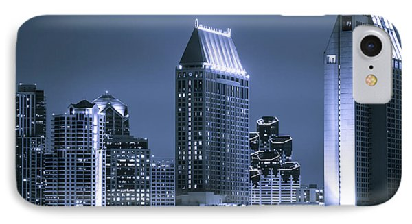 Picture Of San Diego Night Skyline Phone Case by Paul Velgos