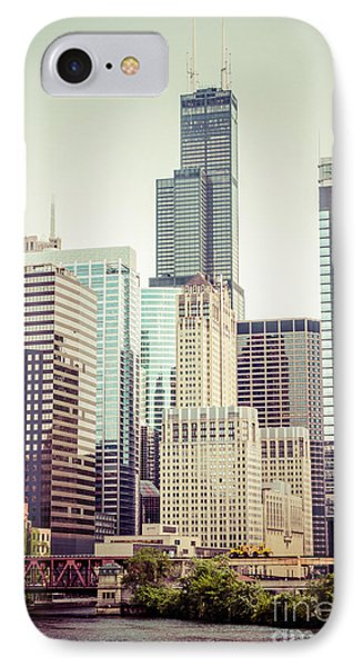 Picture Of Vintage Chicago With Sears Willis Tower IPhone Case by Paul Velgos