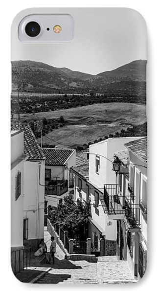 Picturesque Streets Of Ronda. Spain. Black And White IPhone Case by Jenny Rainbow