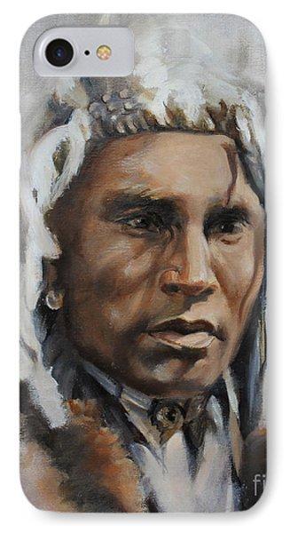 Piegan Warrior Portrait IPhone Case by Synnove Pettersen