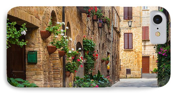 Pienza Street IPhone Case by Inge Johnsson