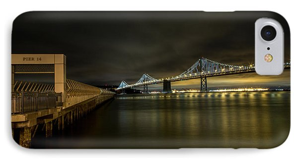 Pier 14 And Bay Bridge At Night IPhone Case by John Daly
