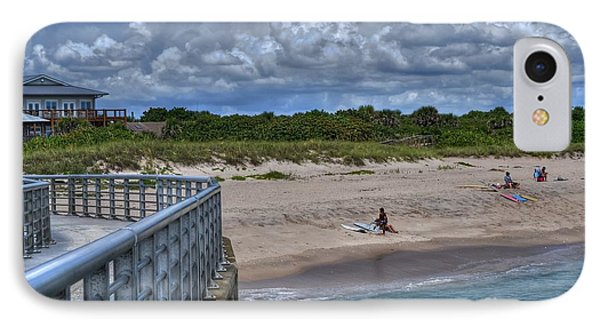 Pier At Sebastian Inlet IPhone Case by Timothy Lowry