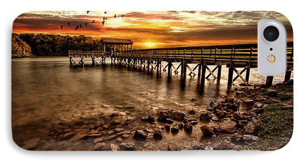 Pier At Smith Mountain Lake Phone Case by Joshua Minso