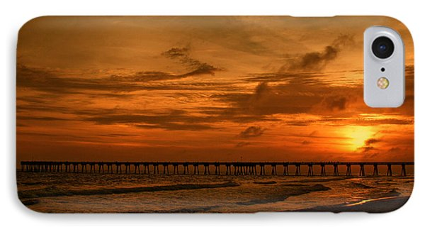 Pier At Sunset Phone Case by Sandy Keeton