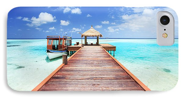 Pier To Tropical Sea In The Maldives - Indian Ocean IPhone Case