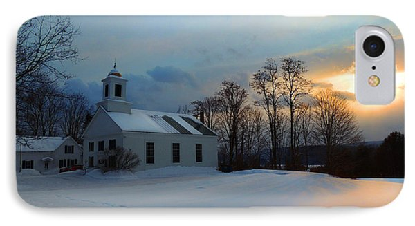 Piermont Church In Winter Light IPhone Case by Nancy Griswold