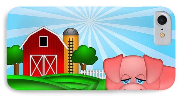 Pig On Green Pasture With Red Barn With Grain Silo  Phone Case by Jit Lim