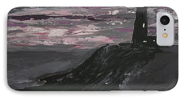 IPhone Case featuring the painting Pigeon Lighthouse Impasto Sunset Monochromatic by Ian Donley