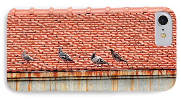 IPhone Case featuring the photograph Pigeons On Roof by Aaron Martens