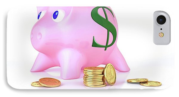 Piggy Bank And Gold Coins IPhone Case by Leonello Calvetti