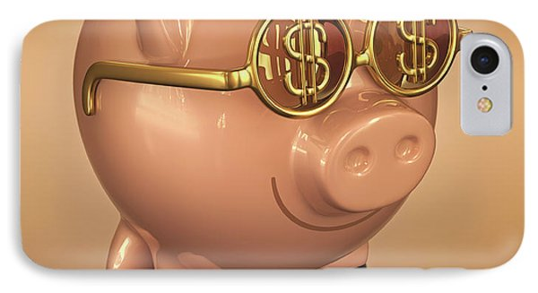 Piggy Bank Wearing Glasses IPhone Case by Ktsdesign